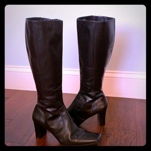 Black leather healed boots